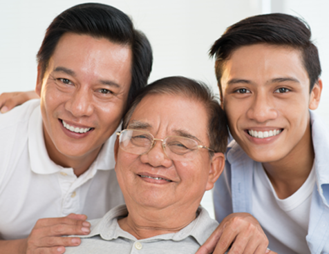 3 generations of men from Asian family